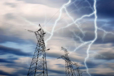 Dramatic Image of Power Distribution Station with Lightning Striking Electricity Towers Stock fotó - 19599620