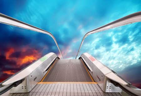 escalator to the sky, urban fantasy landscape,abstract expression photo