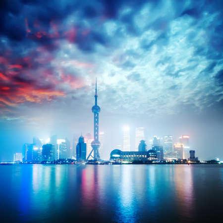 beautiful shanghai skyline at night,China  photo
