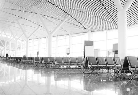 airport lounge: Bench in the shanghai pudong airport interior of the airport  Editorial