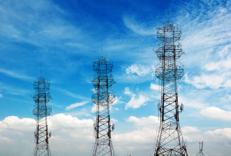 Communications Tower in the sky background  Stock Photo
