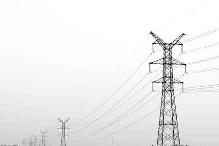 conductor electricity: Electricity pylon isolated on white