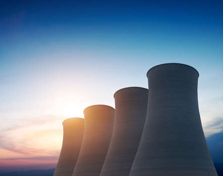 electric power station: tops of cooling towers of atomic power plant
