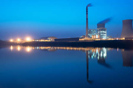 pollutant: Refinery plant area at twilight