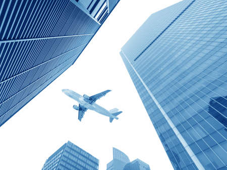 the airplane with the city scene background   photo