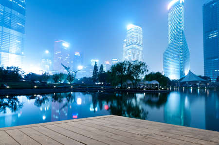 night scenes of shanghai financial center district photo