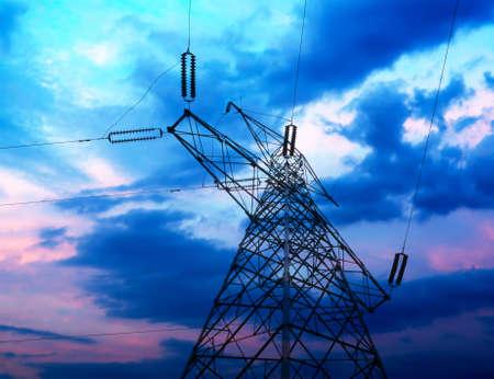 high voltage post High-voltage tower sky background
