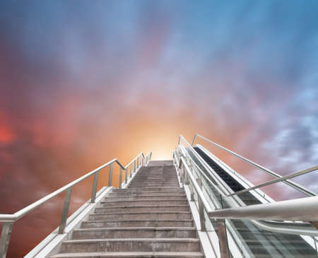 escalator to the sky, urban fantasy landscape,abstract expression photo