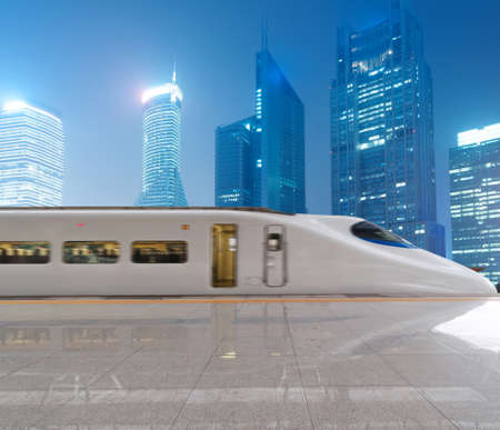 highspeed: very high-speed train go through the shanghai financial center