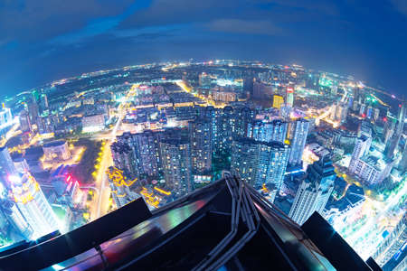 pu dong: Fisheye Lens view of City skyline at night