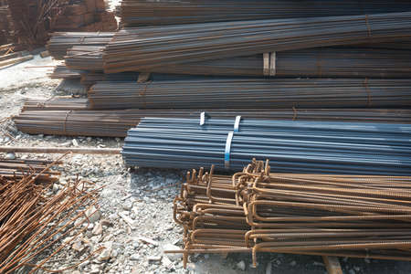 Steel rods or bars used to reinforce concrete Stock Photo - 21761298