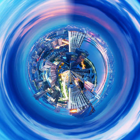 shanghai skyline: 360-degree panorama of the round of the Shanghai skyline Stock Photo