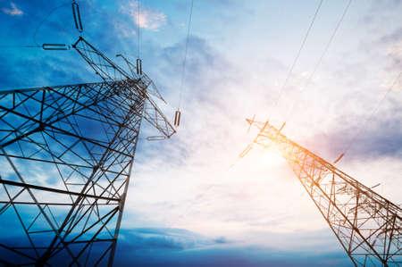 high voltage post.High-voltage tower sky   Archivio Fotografico
