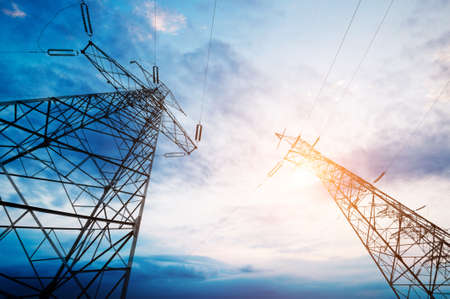 high voltage post.High-voltage tower sky   Standard-Bild
