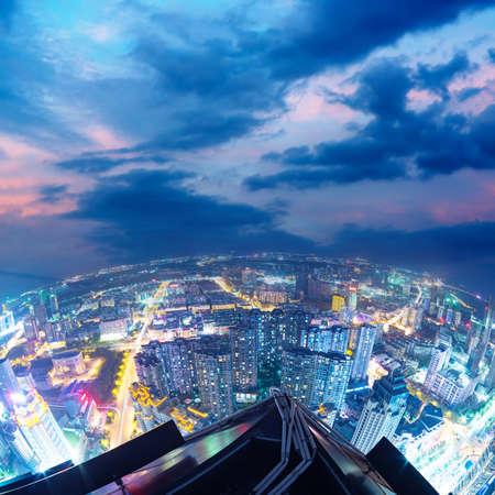 huangpu: Fisheye Lens view of City skyline at night