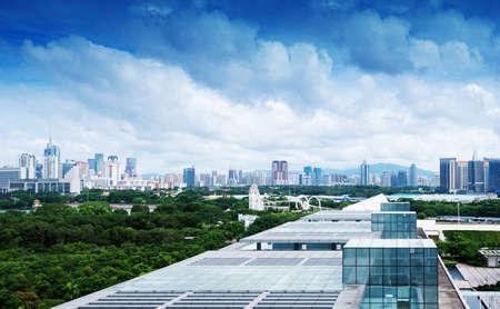 Vue a�rienne de la ville chinoise de Shenzhen Banque d'images