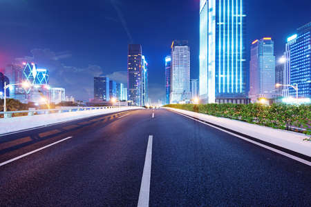 guangdong: Shenzhen, China, and urban transport in the night Stock Photo