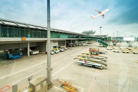 airport runway: aerobridge at airport Editorial