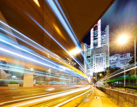 Hong Kong night view with car light photo