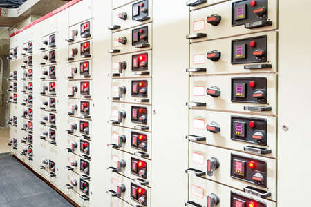 Electrical energy distribution substation in a power plant. Archivio Fotografico