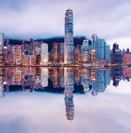 Hong Kong night view of Victoria Harbor, Hong Kong Island business district photo