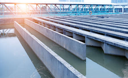 water tank: Modern urban wastewater treatment plant