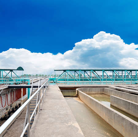 Modern urban wastewater treatment plant photo