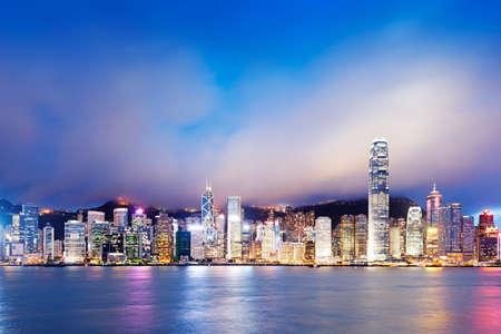 Hong Kong night view of Victoria Harbor, Hong Kong Island business district