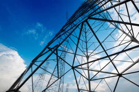 high voltage post.High-voltage tower sky background.  Standard-Bild