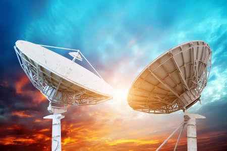 parabolic: satellite dish antennas under sky Stock Photo