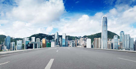 megalopolis: Hong Kong view of Victoria Harbor, Hong Kong Island business district.