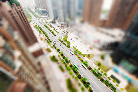 bird 's eye view: Aerial views of the city with tilt-shift effect Stock Photo