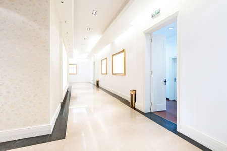 modern hall with white placards photo