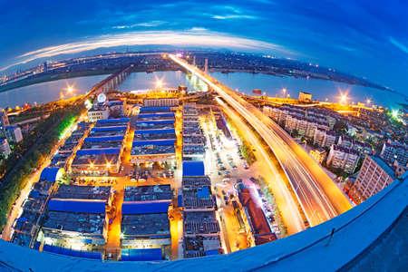 pu: Fisheye Lens view of City skyline at night