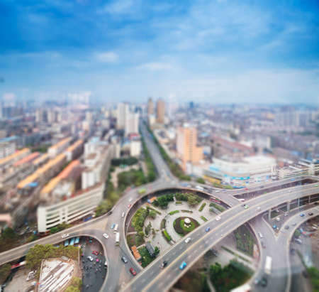 Aerial views of the city with tilt-shift effect Stock Photo