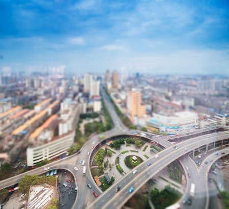 Luchtfoto van de stad met tilt-shift effect Stockfoto
