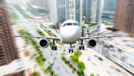 the airplane away from the city,abstract background photo