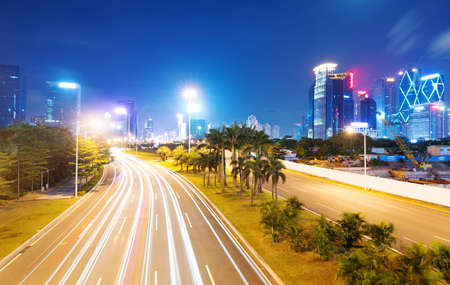 guangdong: light trails on the street at dusk in guangdong,China