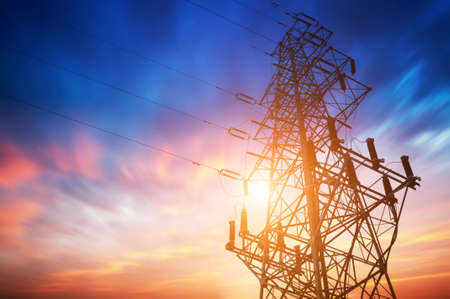 energy supply: high voltage post.High-voltage tower sky background.