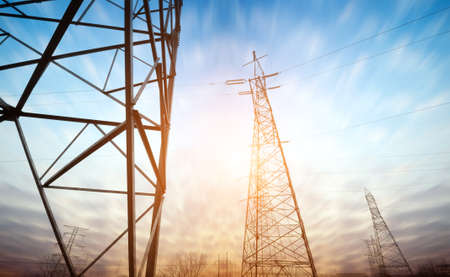 power supply: high voltage post.High-voltage tower sky background.