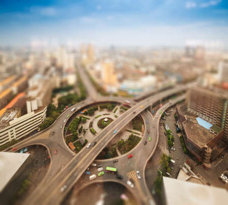 Aerial views of the city with tilt-shift effect photo