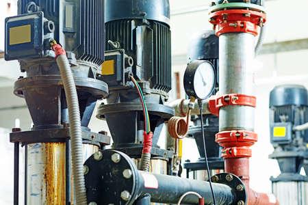 instrumentation: Sewage treatment plants indoors and instrumentation closeup.