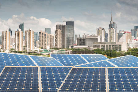 Hong Kong,Ecological energy renewable solar panel plant Stock Photo