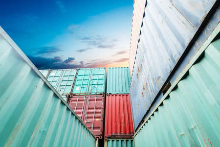 loading dock: Stack of Cargo Containers at the docks