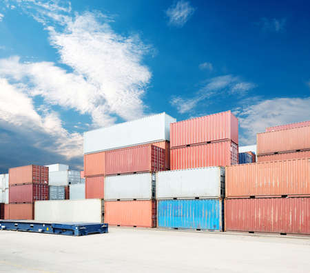 dockyard: Stack of Cargo Containers at the docks