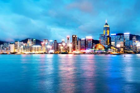 Hong Kong city at night Stock fotó