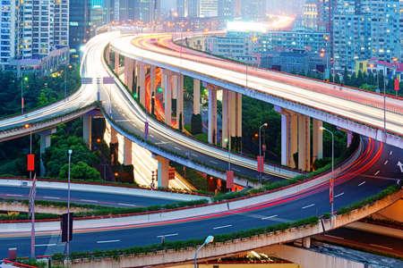shanghai interchange overpass and elevated road in nightfall Stock fotó