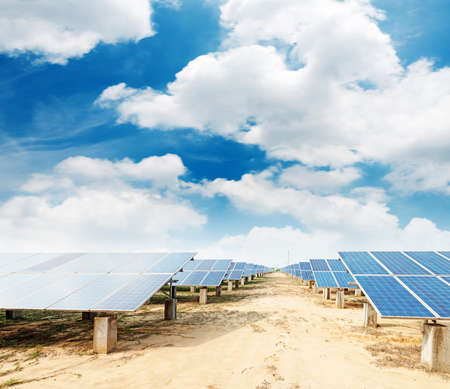 renewable energy resources: photovoltaic panels - solar panel to produce clean, sustainable, renewable energy - alternative electricity source