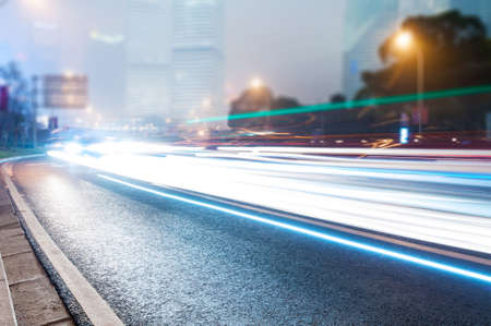 street view: the light trails on the steet in shanghai china. Stock Photo