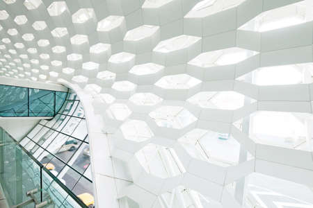 glass ceiling: Transparent glass ceiling subway station